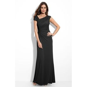 Women's CK Asymmetrical Ruched Jersey Gown